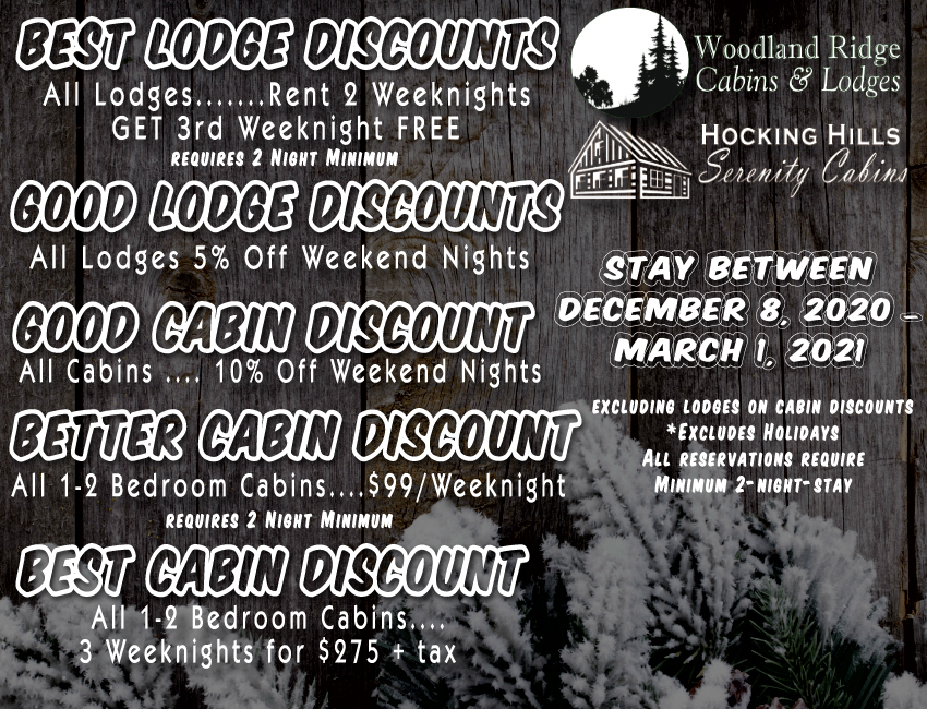 Hocking Hills Serenity Cabins Best Lodge and Cabin Discounts